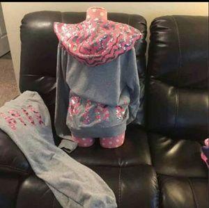 Full bling hoodie set PINK